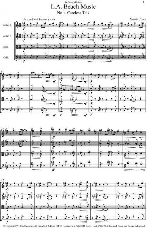 Martin Yates - L.A. Beach Music (String Quartet) - Score Digital Download