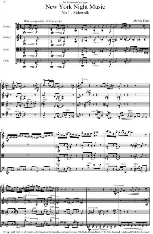Martin Yates - New York Night Music (String Quartet) - Parts Digital Download