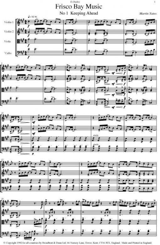 Martin Yates - 'Frisco Bay Music (String Quartet) - Score Digital Download