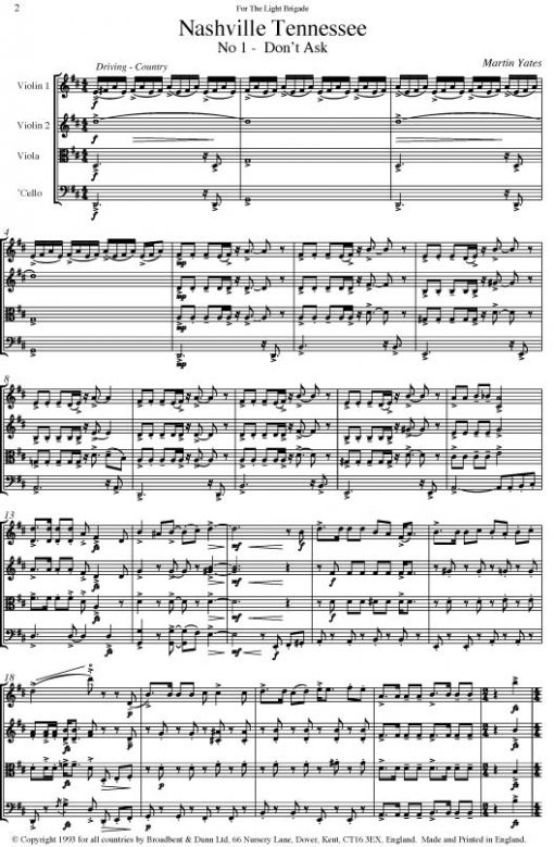 Martin Yates - Nashville Tennessee (String Quartet) - Score Digital Download