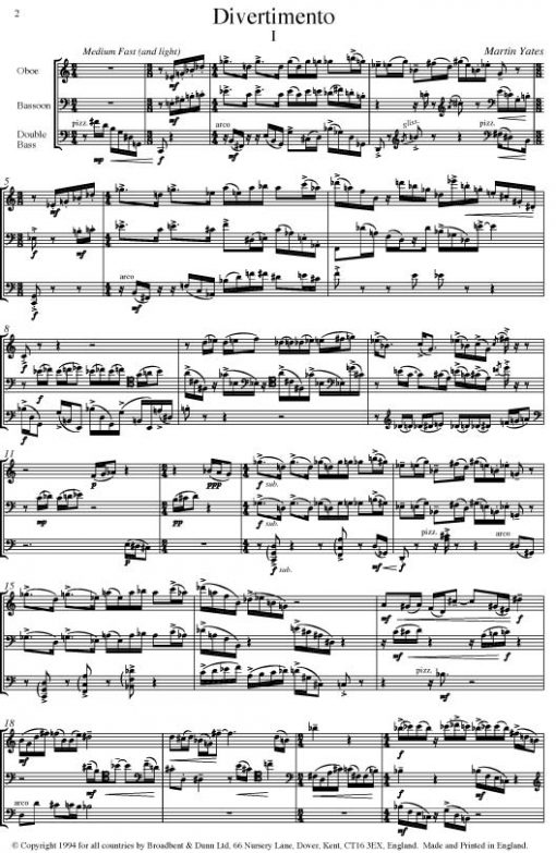 Martin Yates - Divertimento (Oboe