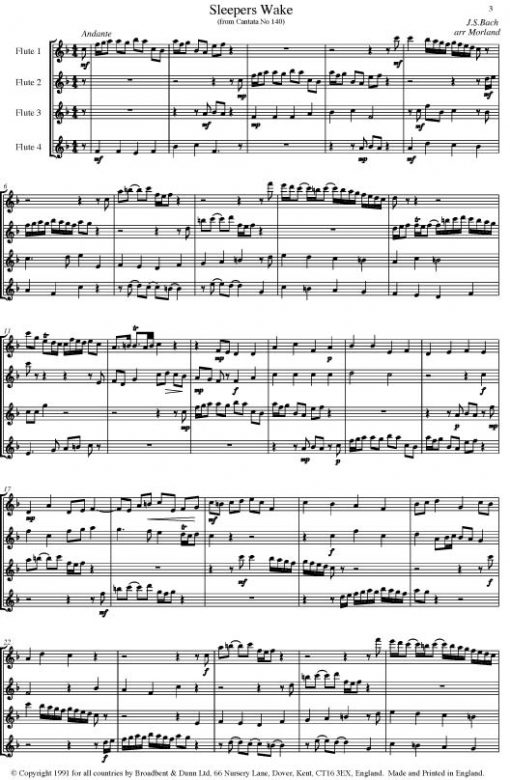 Bach - Three by Bach (Flute Quartet) - Score Digital Download