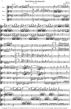 Mozart - Three by Mozart (Flute Quartet) - Score Digital Download