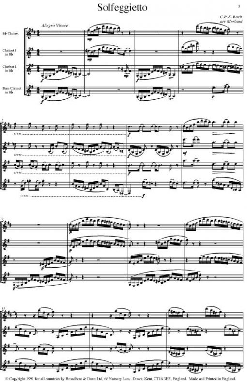 C. P. E. Bach - Solfeggietto (Clarinet Quartet) - Score Digital Download