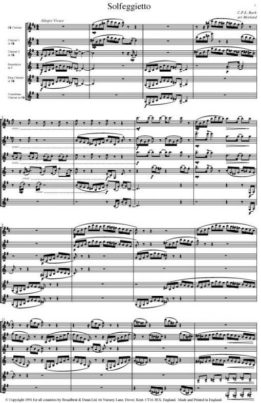 C. P. E. Bach - Solfeggietto (Clarinet Sextet) - Parts Digital Download