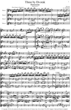 Dvorák - Three by Dvorák (Flute Quartet) - Score Digital Download