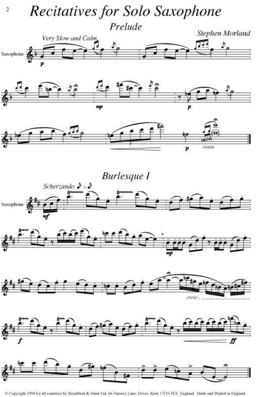 Stephen Morland - Recitatives for Solo Saxophone - Digital Download
