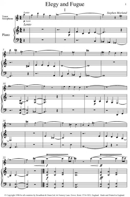 Stephen Morland - Elegy and Fugue (Tenor Saxophone & Piano) - Digital Download
