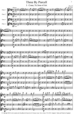 Purcell - Three by Purcell (Flute Quartet) - Score Digital Download