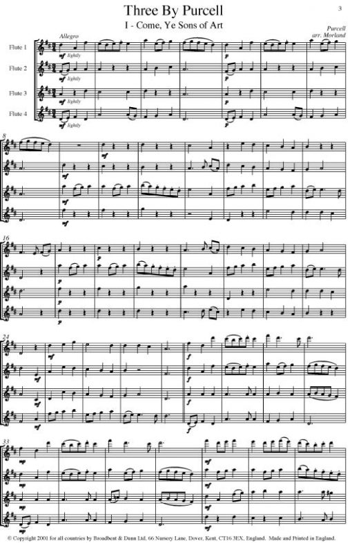 Purcell - Three by Purcell (Flute Quartet) - Parts Digital Download