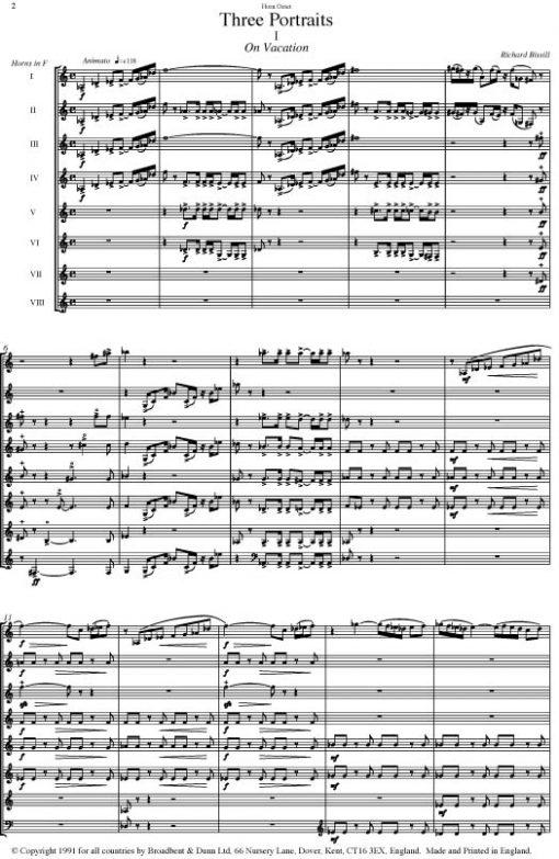 Richard Bissill - Three Portraits (Horn Octet) - Parts Digital Download