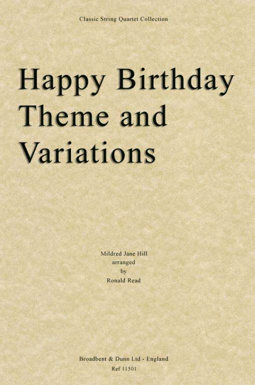 Hill - Happy Birthday Theme and Variations (String Quartet Score)
