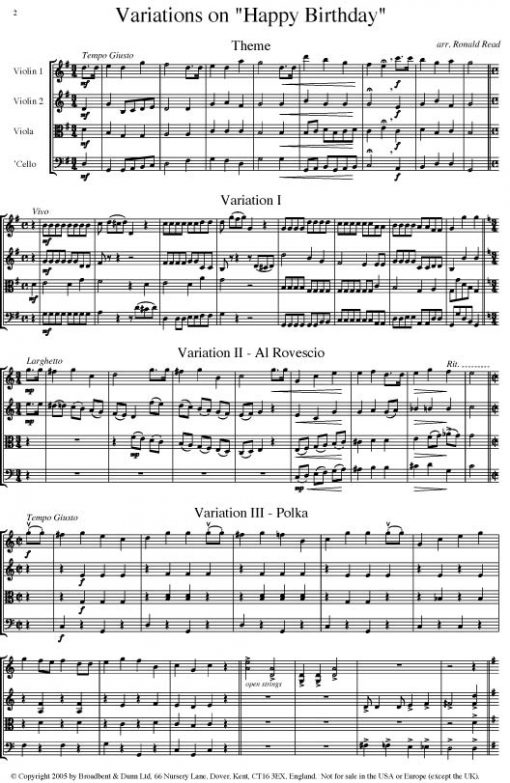 Hill - Happy Birthday Theme and Variations (String Quartet Score) - Score Digital Download