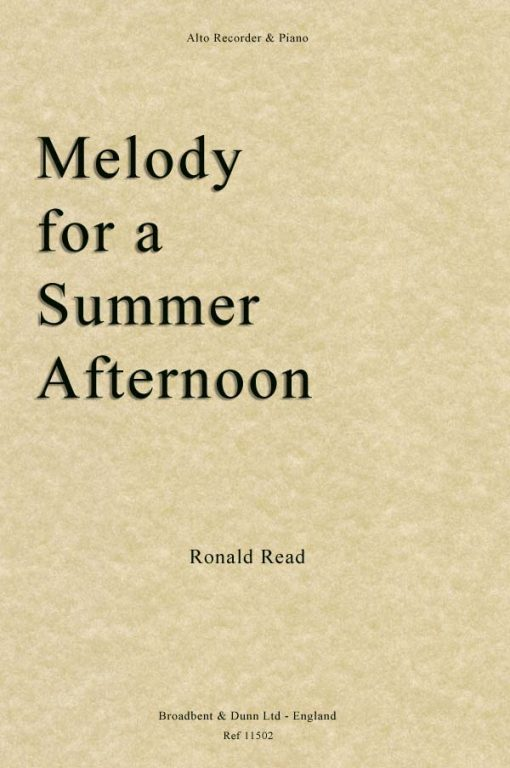 Ronald Read - Melody for a Summer Afternoon (Alto Recorder & Piano)