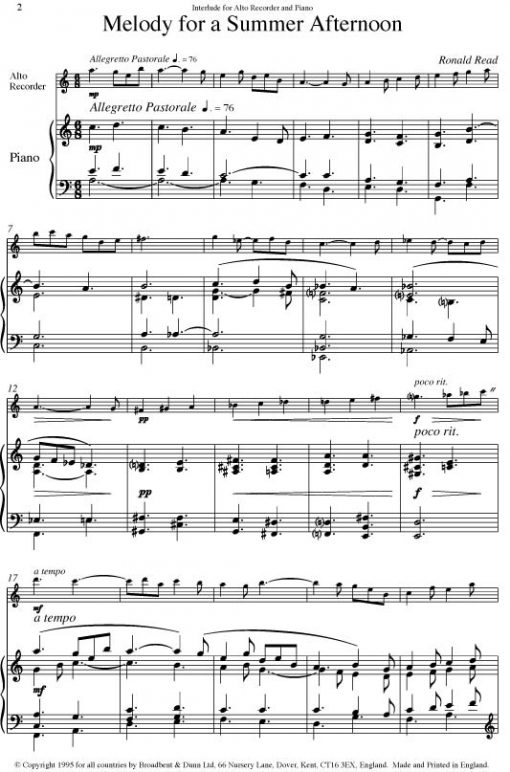 Ronald Read - Melody for a Summer Afternoon (Alto Recorder & Piano) - Digital Download