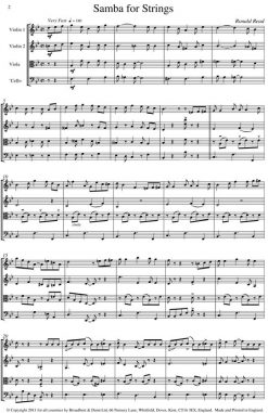 Ronald Read - Samba for Strings (String Quartet) - Score Digital Download