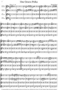 Ronald Read - One Octave Polka (Recorder Quartet) - Score Digital Download