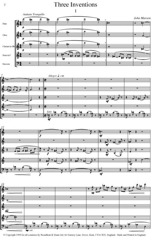 John Marson - Three Inventions (Wind Quintet) - Parts Digital Download