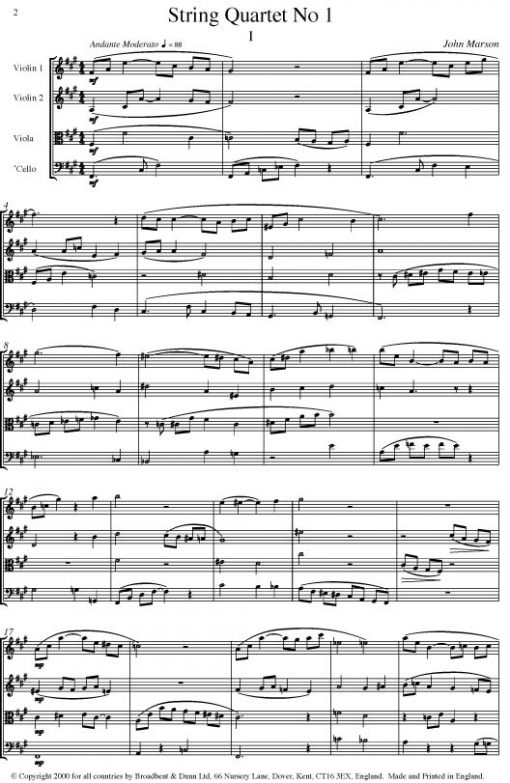 John Marson - String Quartet No. 1 - Parts Digital Download