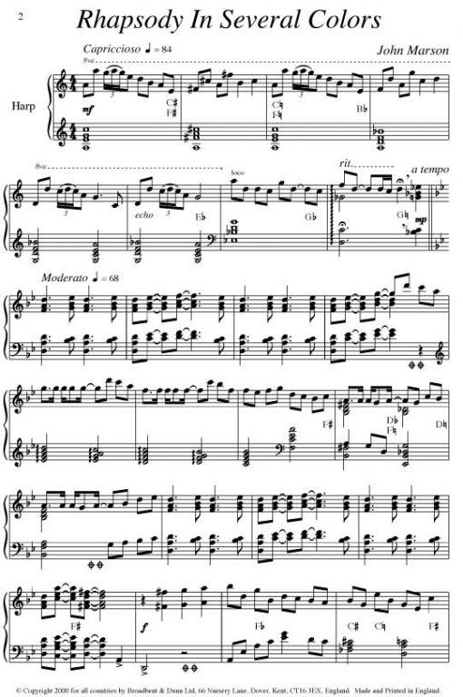 John Marson - Rhapsody In Several Colors (Harp) - Digital Download