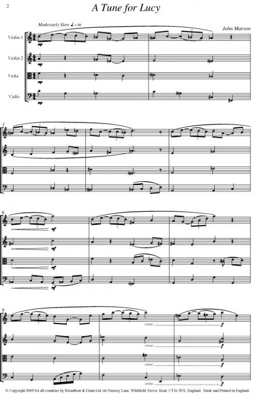 John Marson - A Tune For Lucy (String Quartet) - Score Digital Download