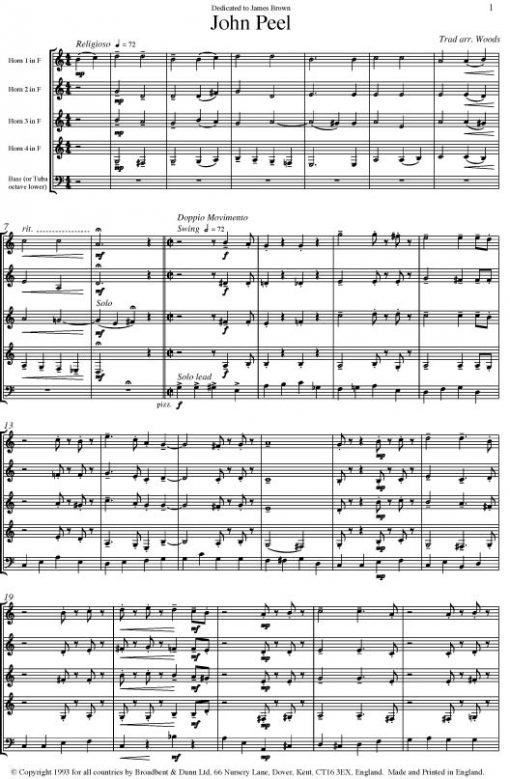 Traditional - John Peel (Horn Quartet with Double Bass or Tuba and optional Drums) - Score Digital Download
