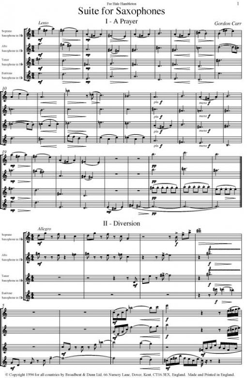 Gordon Carr - Suite for Saxophones (Saxophone Quartet) - Score Digital Download