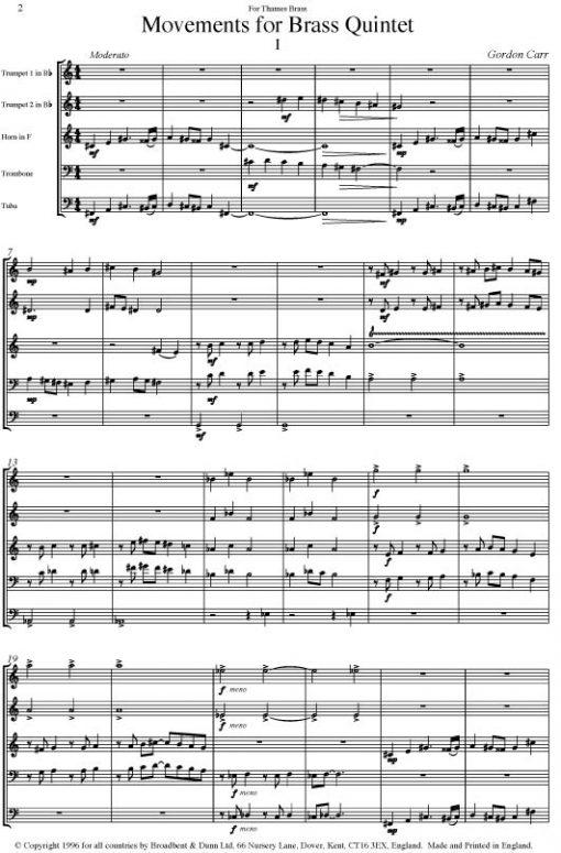 Gordon Carr - Movements for Brass Quintet - Parts Digital Download