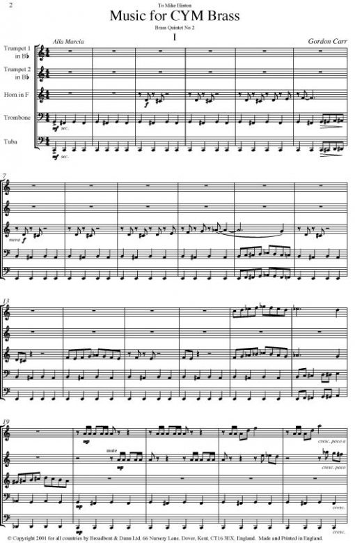 Gordon Carr - Music for CYM Brass (Brass Quintet) - Score Digital Download