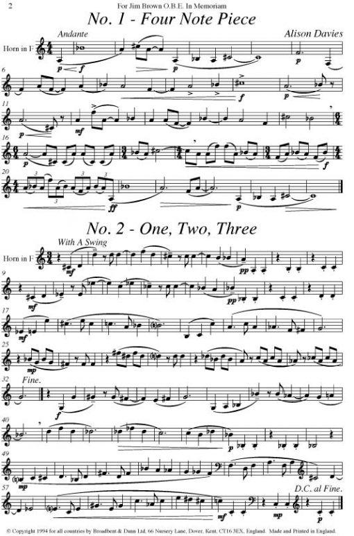 Alison Davies - Four Studies (Solo Horn) - Digital Download