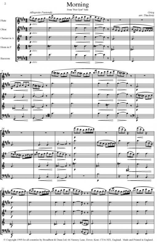 Grieg - Morning from Peer Gynt (Wind Quintet) - Parts Digital Download