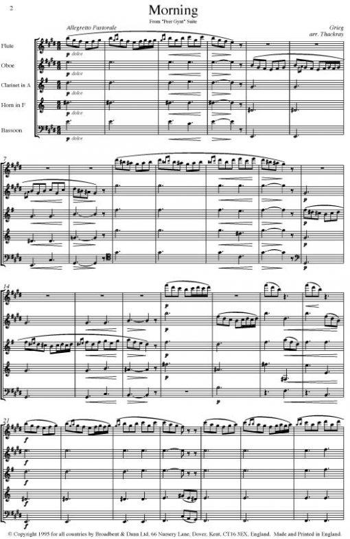 Grieg - Morning from Peer Gynt (Wind Quintet) - Score Digital Download