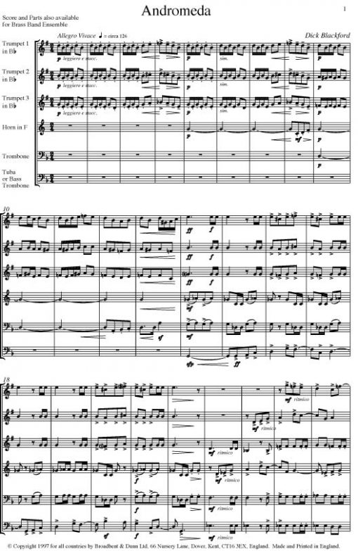 Dick Blackford - Andromeda (Brass Sextet for Orchestral Brass Instruments) - Parts Digital Download