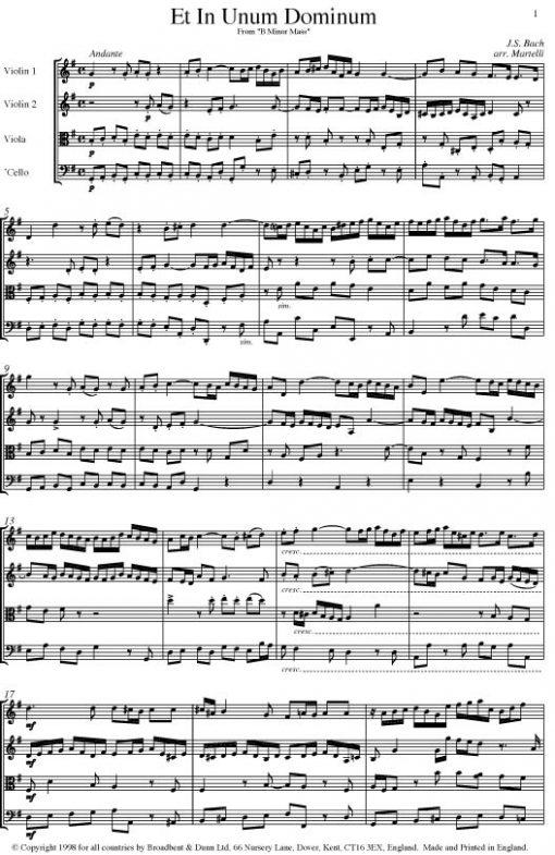 Bach - Et In Unum Dominum from Mass in B Minor (String Quartet Score) - Score Digital Download