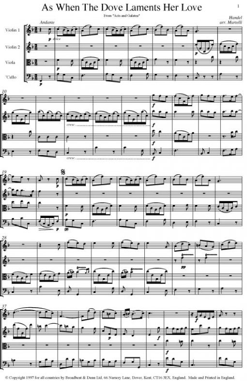 Handel - As When The Dove Laments Her Love from Acis and Galatea (String Quartet Parts) - Parts Digital Download