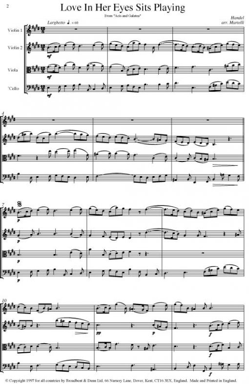 Handel - Love In Her Eyes Sits Playing from Acis and Galatea (String Quartet Parts) - Parts Digital Download