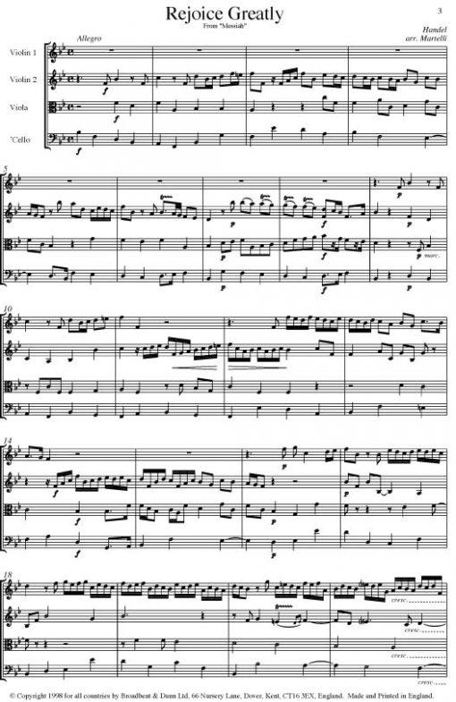 Handel - Rejoice Greatly from Messiah (String Quartet Parts) - Parts Digital Download