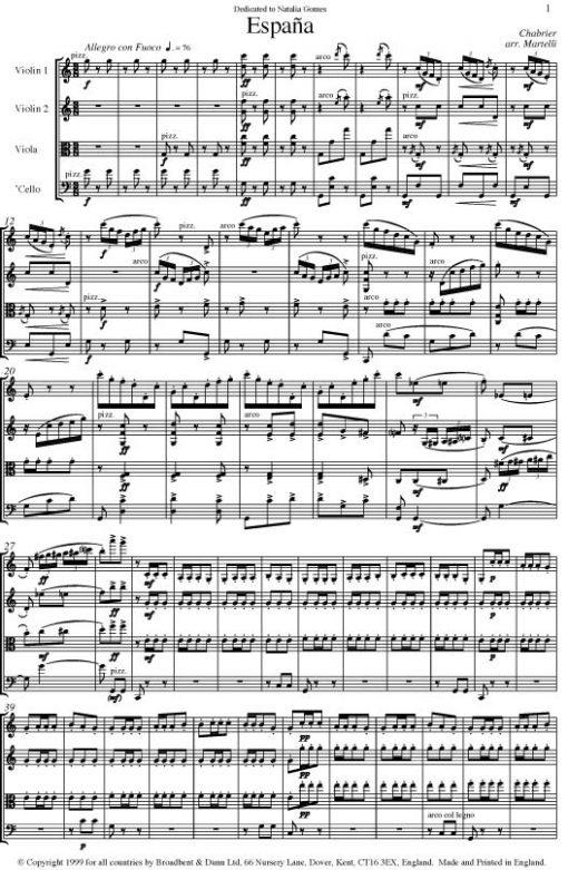 Chabrier - Espaà±a (String Quartet Score) - Score Digital Download