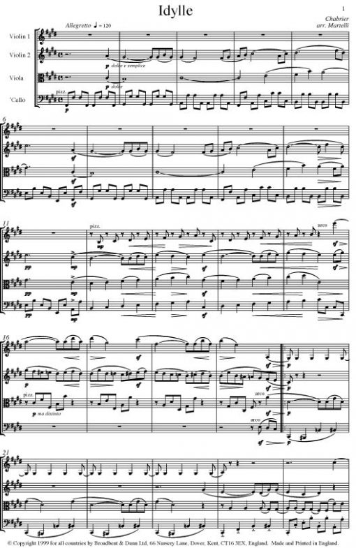 Chabrier - Idylle from Suite Pastorale (String Quartet Parts) - Parts Digital Download