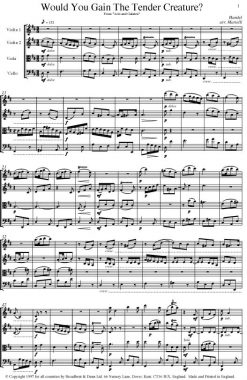 Handel - Would You Gain The Tender Creature from Acis and Galatea (String Quartet Parts) - Parts Digital Download