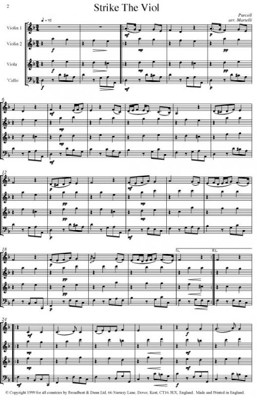Purcell - Strike The Viol from Come Ye Sons of Art (String Quartet Score) - Score Digital Download