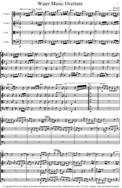 Handel - Water Music Overture (String Quartet Score) - Score Digital Download