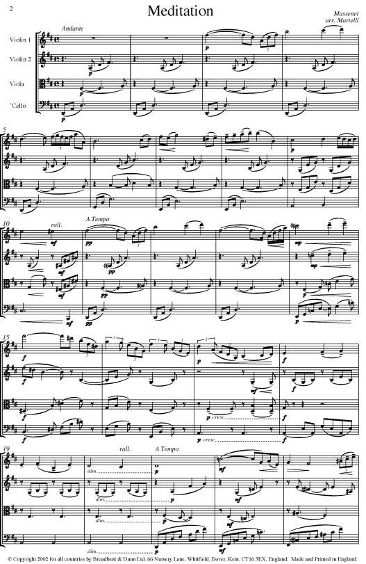 Massenet - Meditation from Thaïs (String Quartet Score) - Score Digital  Download