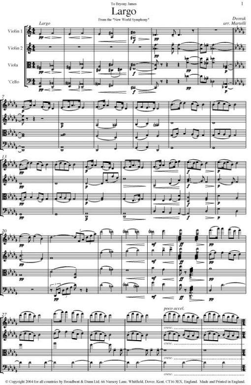 Dvorák - Largo From The New World Symphony (String Quartet Parts) - Parts Digital Download