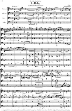 Elgar - Lullaby from Three Bavarian Dances (String Quartet Score) - Score Digital Download