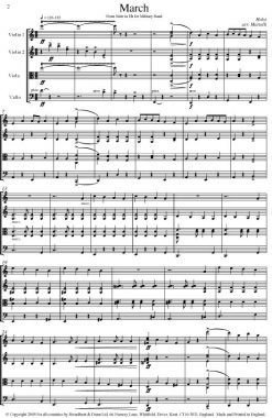 Holst - March from Suite in E Flat for Military Band (String Quartet Score) - Score Digital Download
