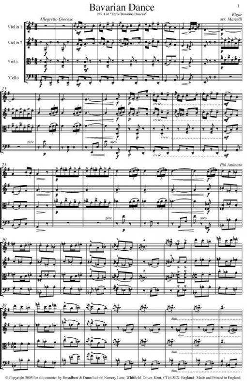 Elgar - Bavarian Dance from Three Bavarian Dances (String Quartet Parts) - Parts Digital Download
