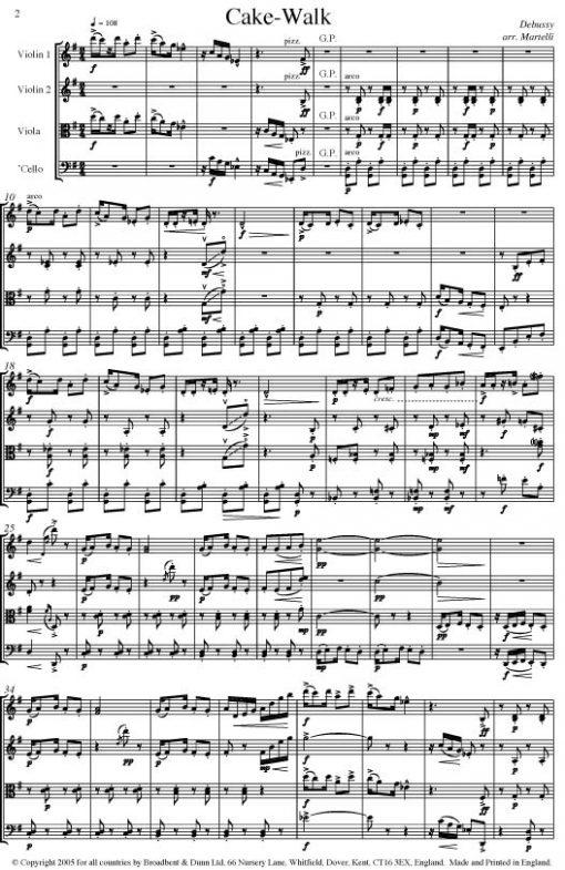 Debussy - Golliwog's Cakewalk from Children's Corner Piano Suite (String Quartet Parts) - Parts Digital Download
