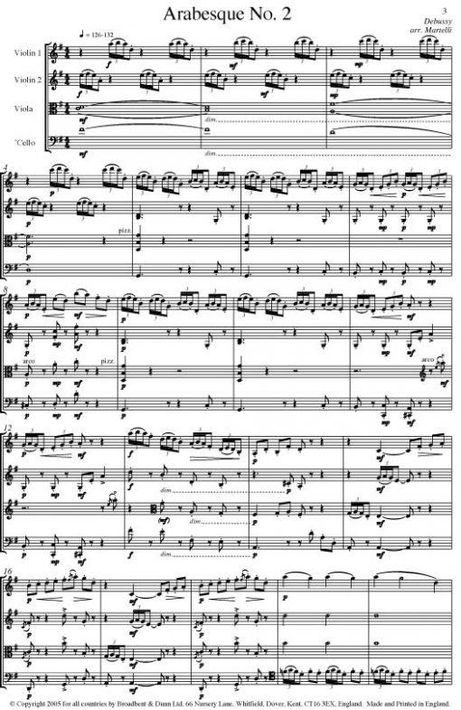 Debussy - Arabesque No. 2 (String Quartet Score) - Score Digital Download