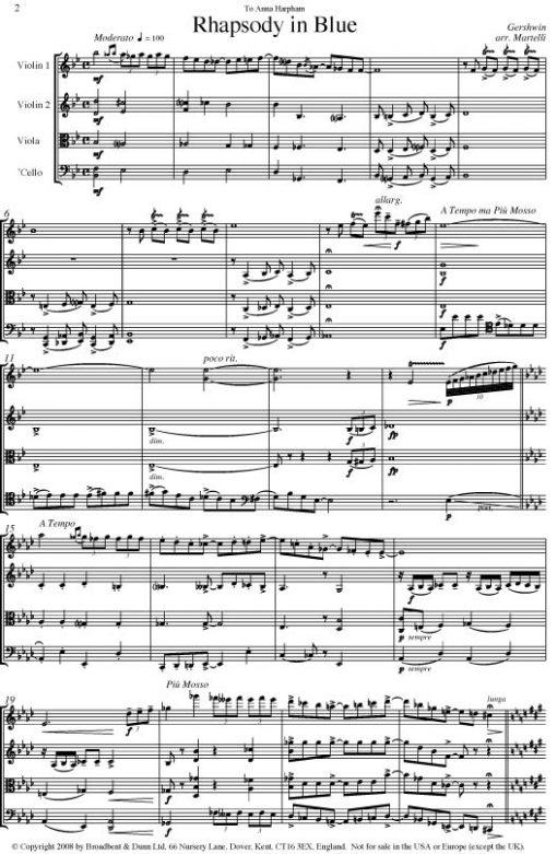 Gershwin - Rhapsody in Blue (String Quartet Parts) - Parts Digital Download